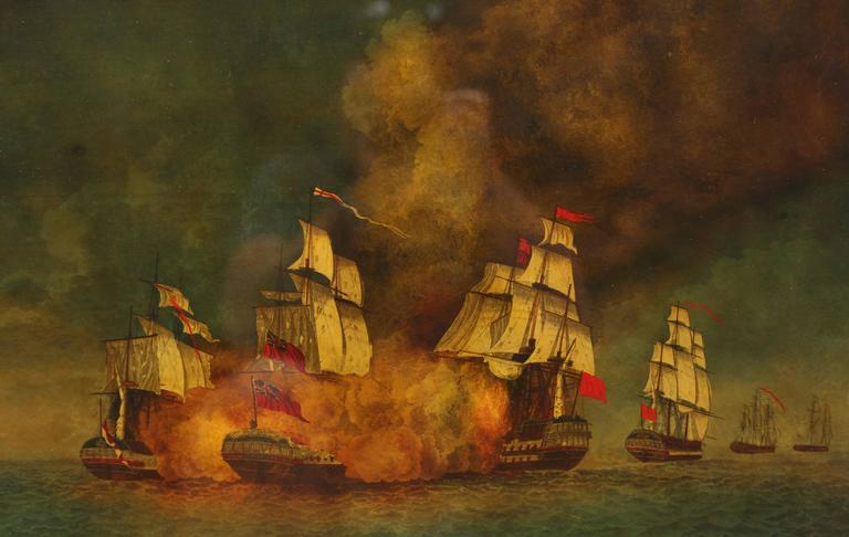 Reverse painted maritime image depicting a historic naval battle during the Napoleonic wars known as the battle of Aix roads. Dark and moody this reverse painted image commemorates the fireships of the English led by Captain Lord Cochrane in his