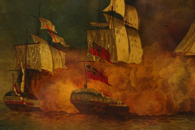 Napoleon Reverse Painted Ship Painting, Églomisé, Battle of Aix Roads For Sale