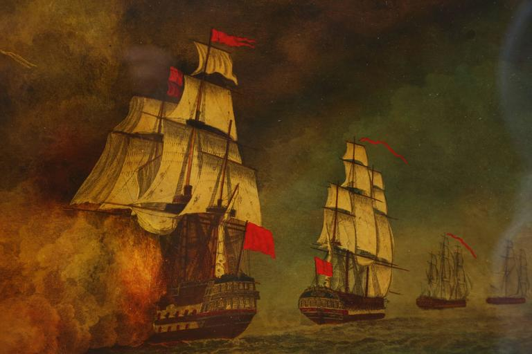 Unknown Reverse Painted Ship Painting, Églomisé, Battle of Aix Roads For Sale