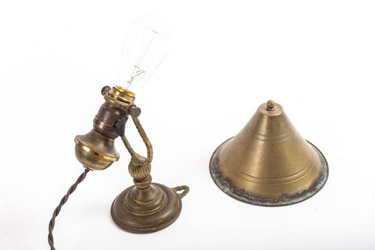 Aged Brass Wall Sconces : Pair of Aged Brass Wall Sconces with Brass Shades For Sale at 1stdibs