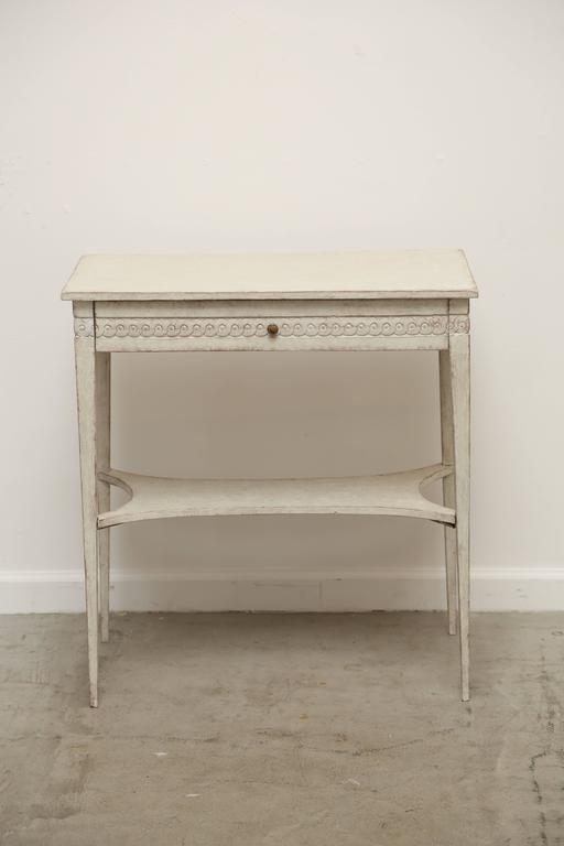 Antique Swedish Gustavian Style White Distressed Painted Side Table Or  Could Be A Small Console With