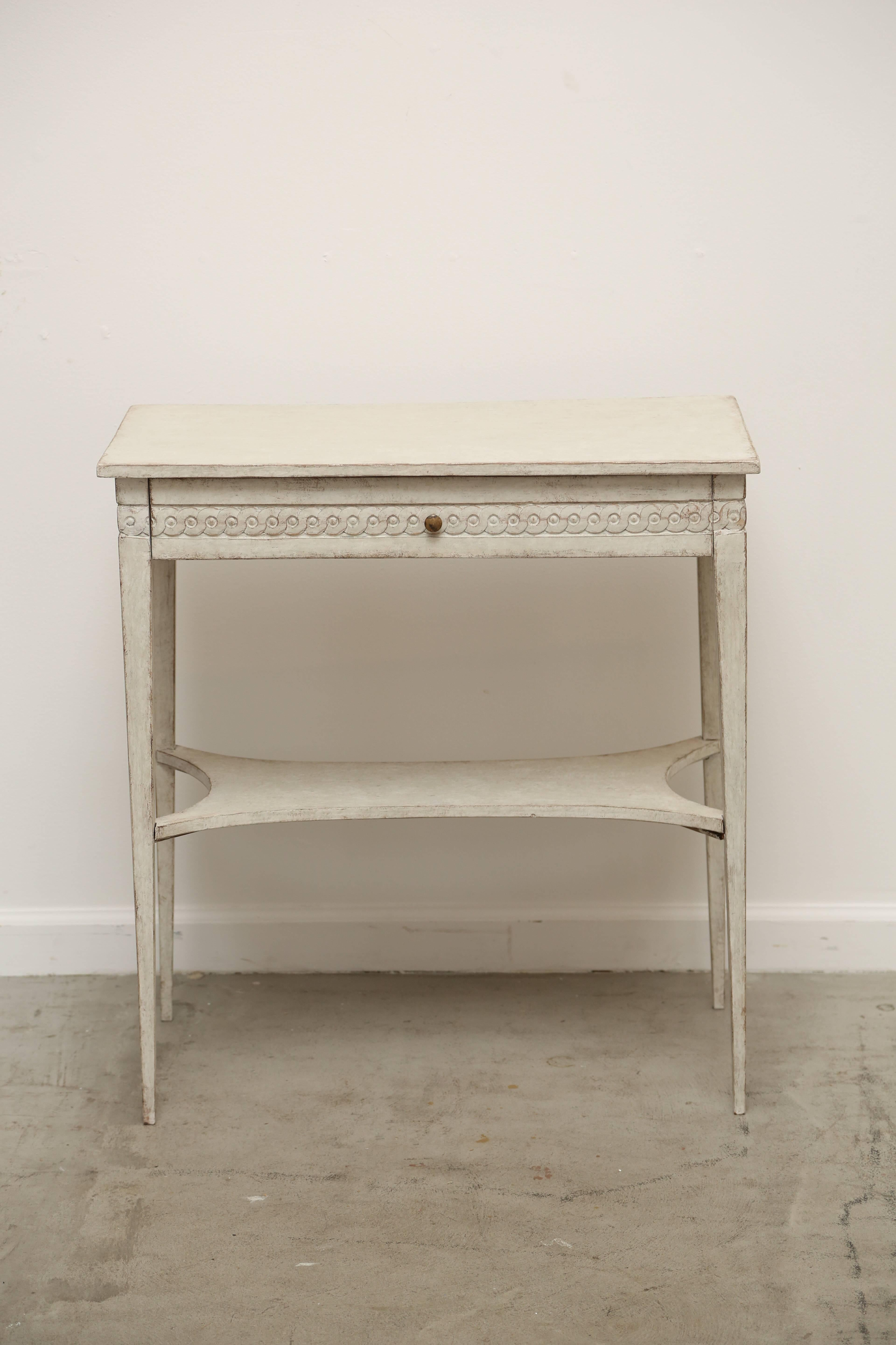 Antique Swedish Gustavian Style Painted Table With Drawer Mid 19th Century At 1stdibs