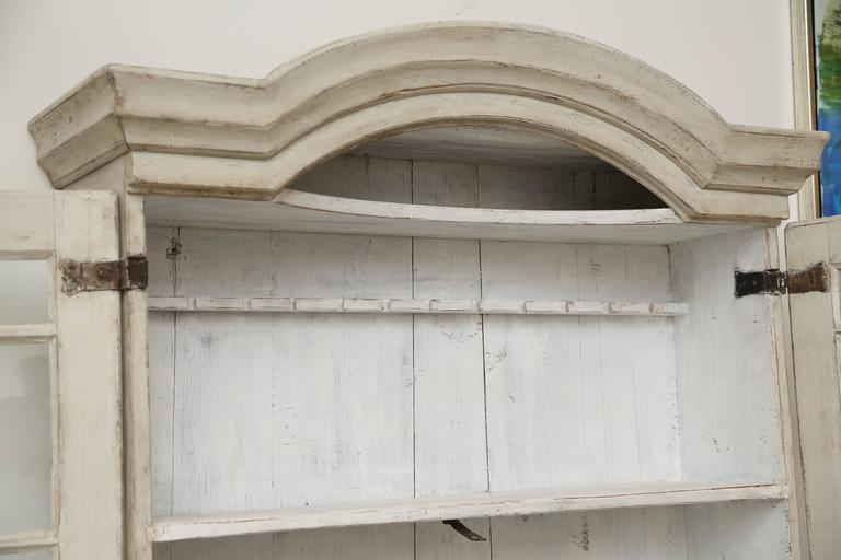 Swedish baroque secretary display cabinet painted white for Baroque glass door