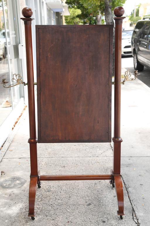Superb Louis Philippe 19th Century Mahogany Cheval Mirror Brass Candleholders For Sale 1