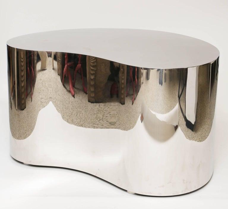 Polished Karl Springer Steel Free Form Table For Sale