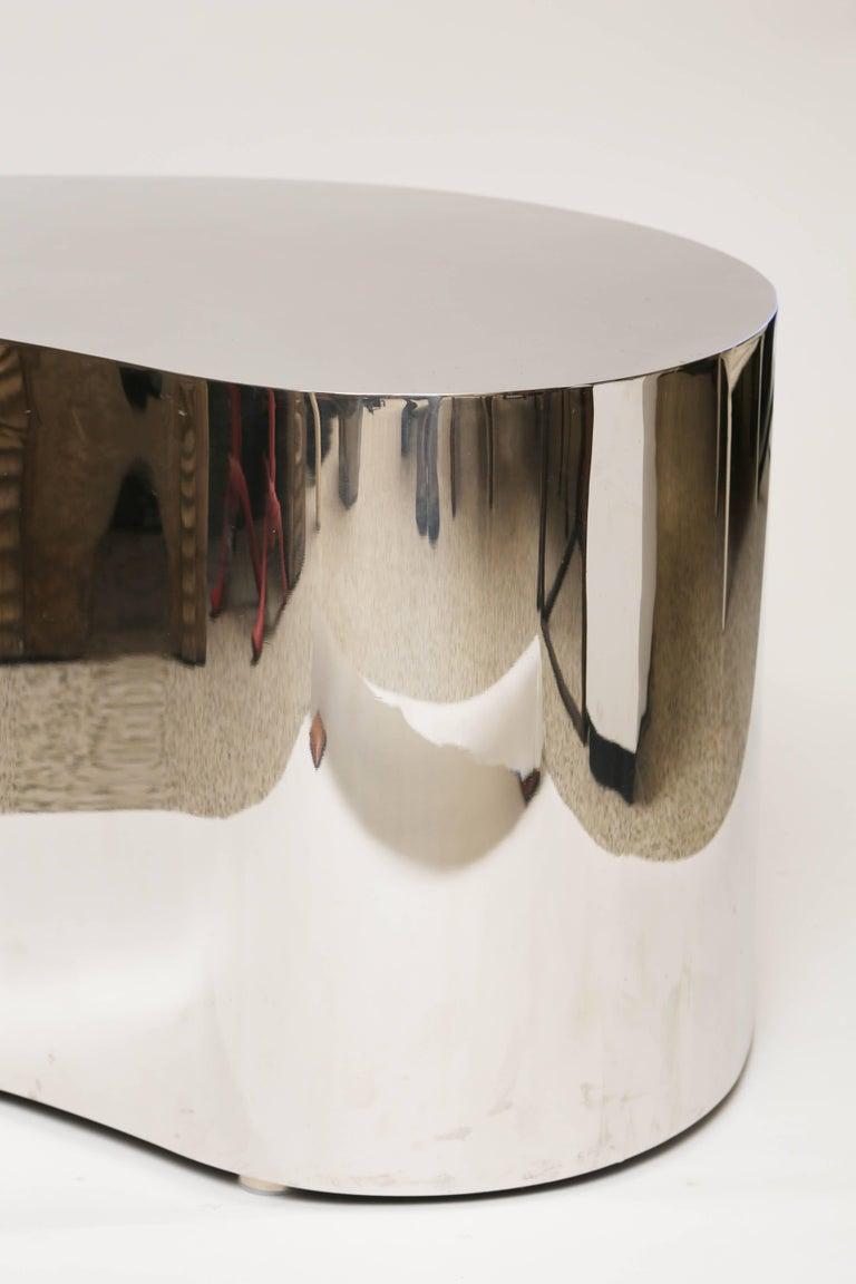 Stainless Steel Karl Springer Steel Free Form Table For Sale