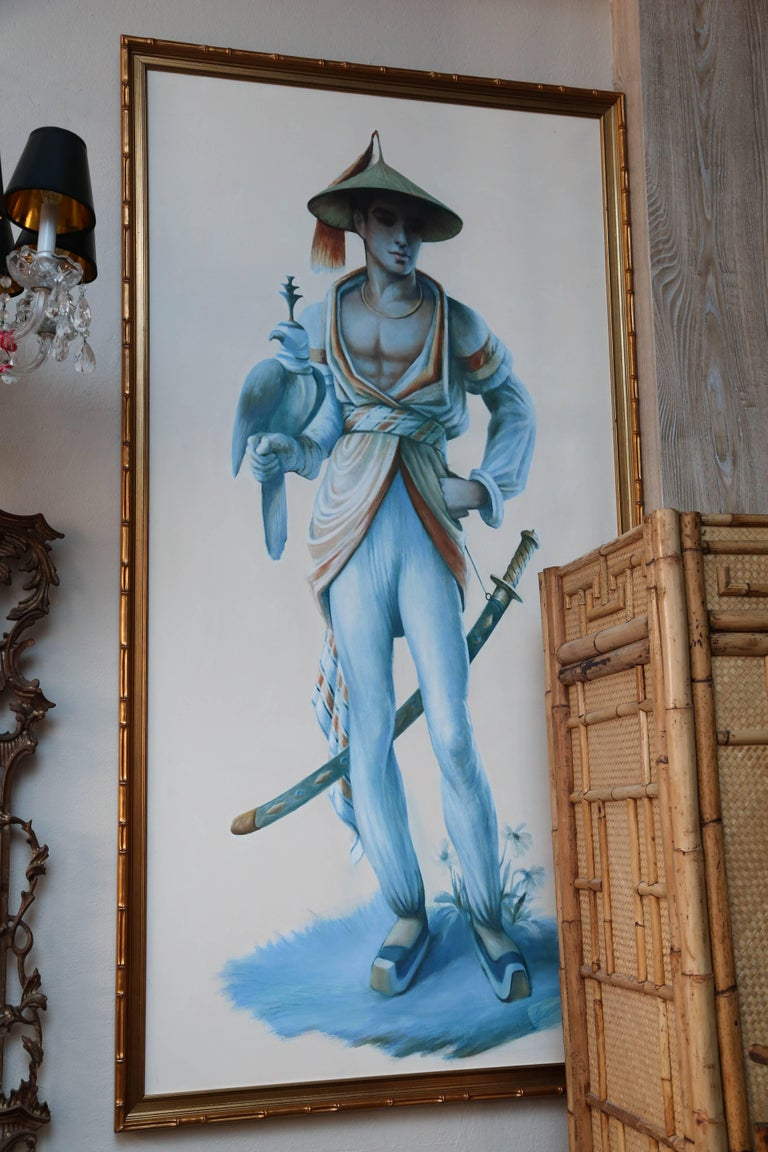 Brilliantly painted chinoiserie pair of murals from an iconic Palm Beach mansion. These are opposing figures - not mirror images - note different faces and slightly different builds. 