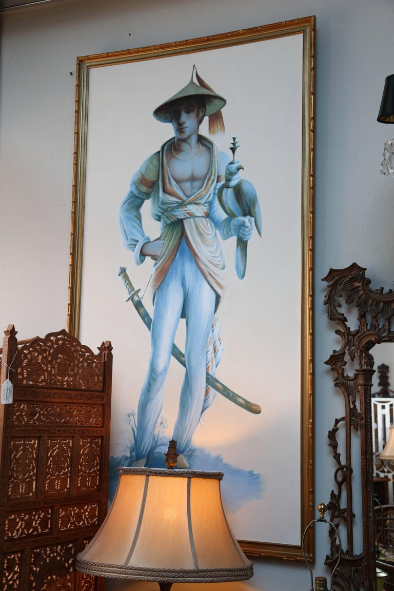 American Pair of Majestic Life Size  Chinoiserie Paintings of Falconers For Sale