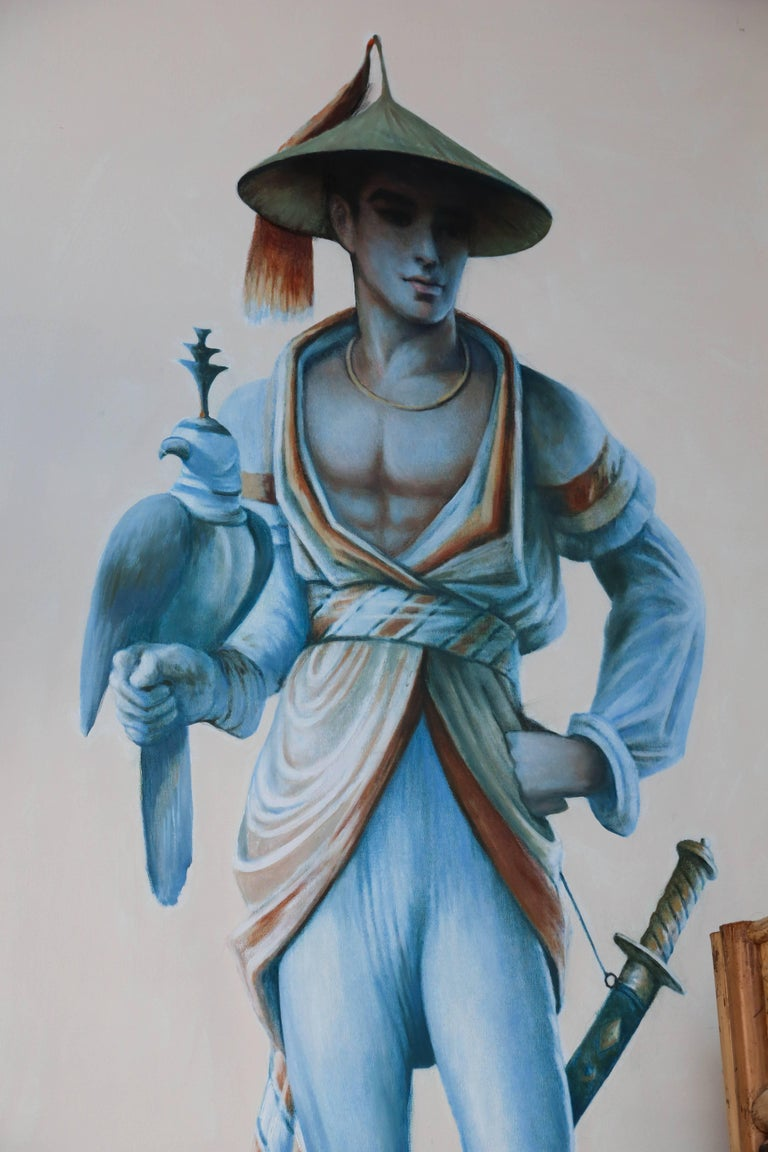 Pair of Majestic Life Size  Chinoiserie Paintings of Falconers In Good Condition For Sale In West Palm Beach, FL