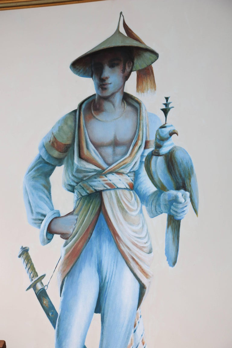 20th Century Pair of Majestic Life Size  Chinoiserie Paintings of Falconers For Sale