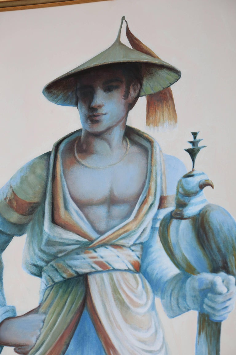 Pair of Majestic Life Size  Chinoiserie Paintings of Falconers For Sale 3