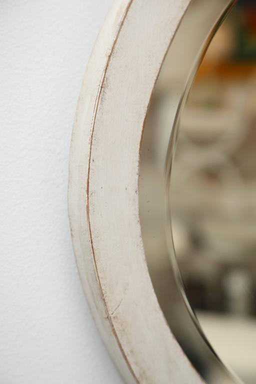 Antique Swedish Gustavian Style White Painted Oval Mirror, Mid-19th Century For Sale 2