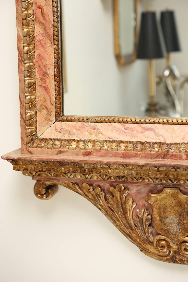 Italian Antique Gilded and Faux Painted Architectural Mirror For Sale