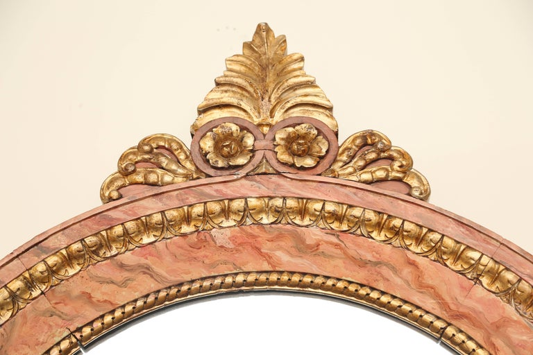 Wood Antique Gilded and Faux Painted Architectural Mirror For Sale