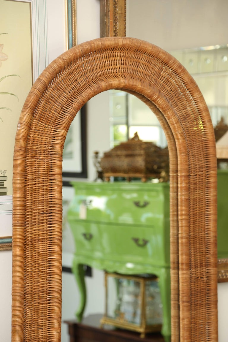 Mid Century Rattan And Mirrored Entry Hall Tree At 1stdibs
