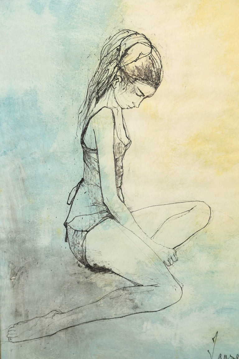 Ink and watercolor painting of a pensive seated ballerina by the French-Armenian artist, Jean Jansem (1920-2013). Provenance, Wally Findlay Gallery, Palm Beach.