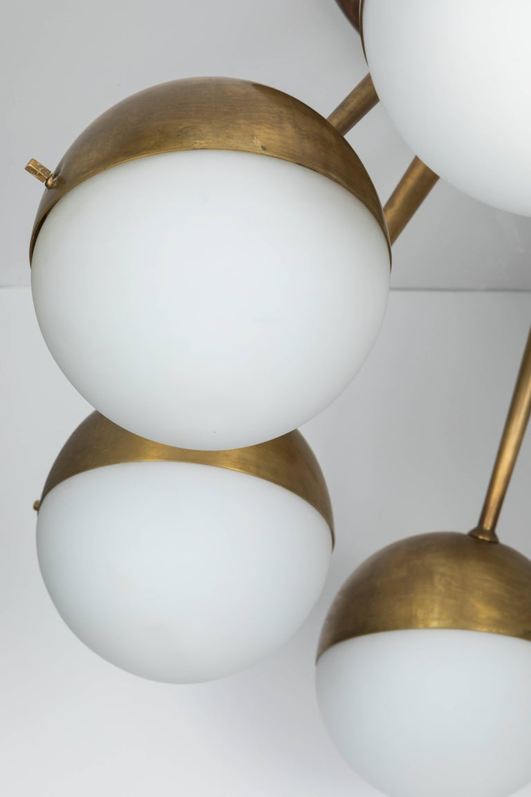 1960s Italian Eight-Arm Brass and Glass Chandelier Attributed to Stilnovo 7