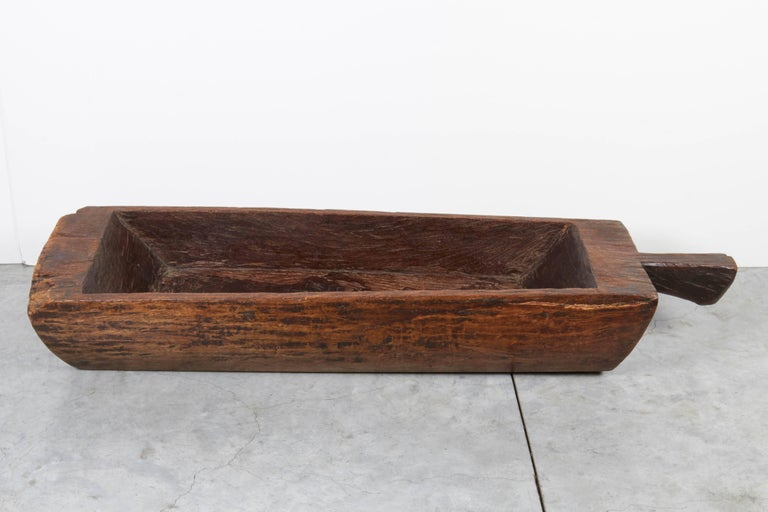 Elm Large, Primitive, Thick Walled Antique Wooden Tray For Sale
