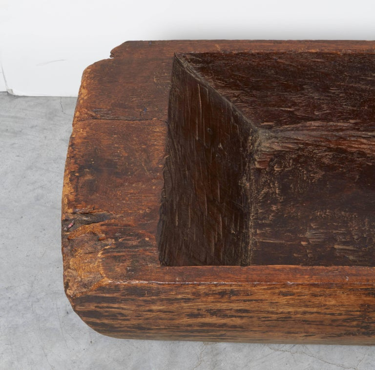 Large, Primitive, Thick Walled Antique Wooden Tray For Sale 1