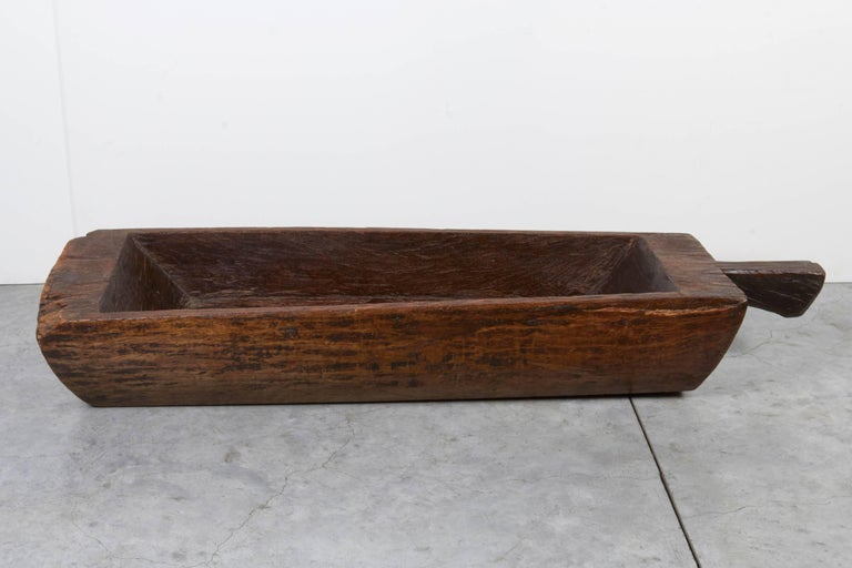 Large, Primitive, Thick Walled Antique Wooden Tray For Sale 3