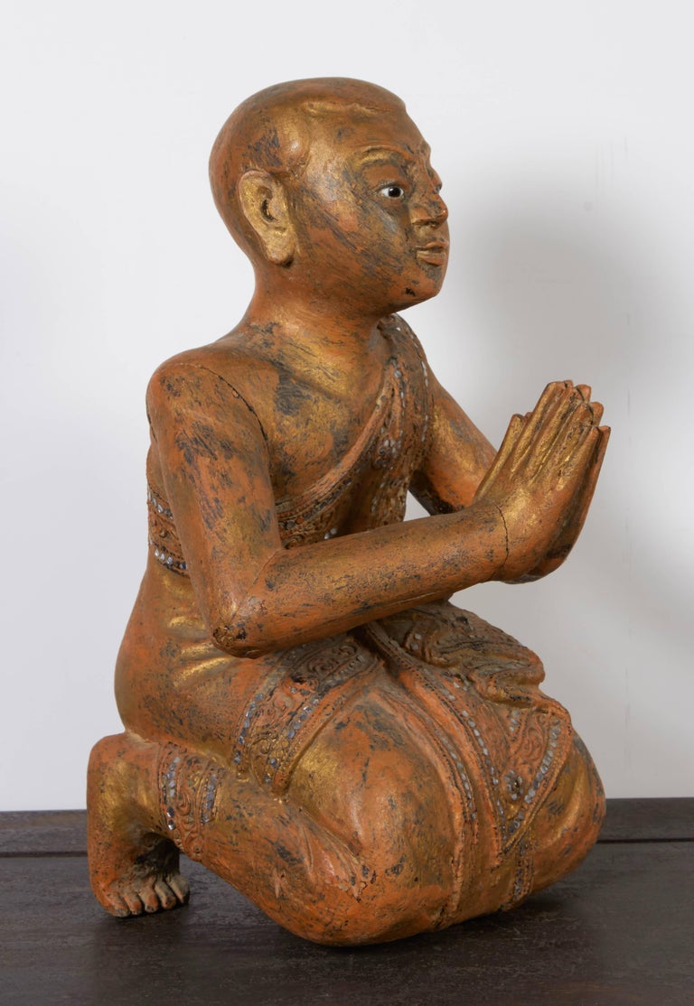 Serene Antique Praying Monk In Kneeling Position From
