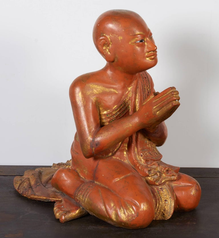 Finely Carved Antique Burmese Praying Monk For Sale At 1stdibs