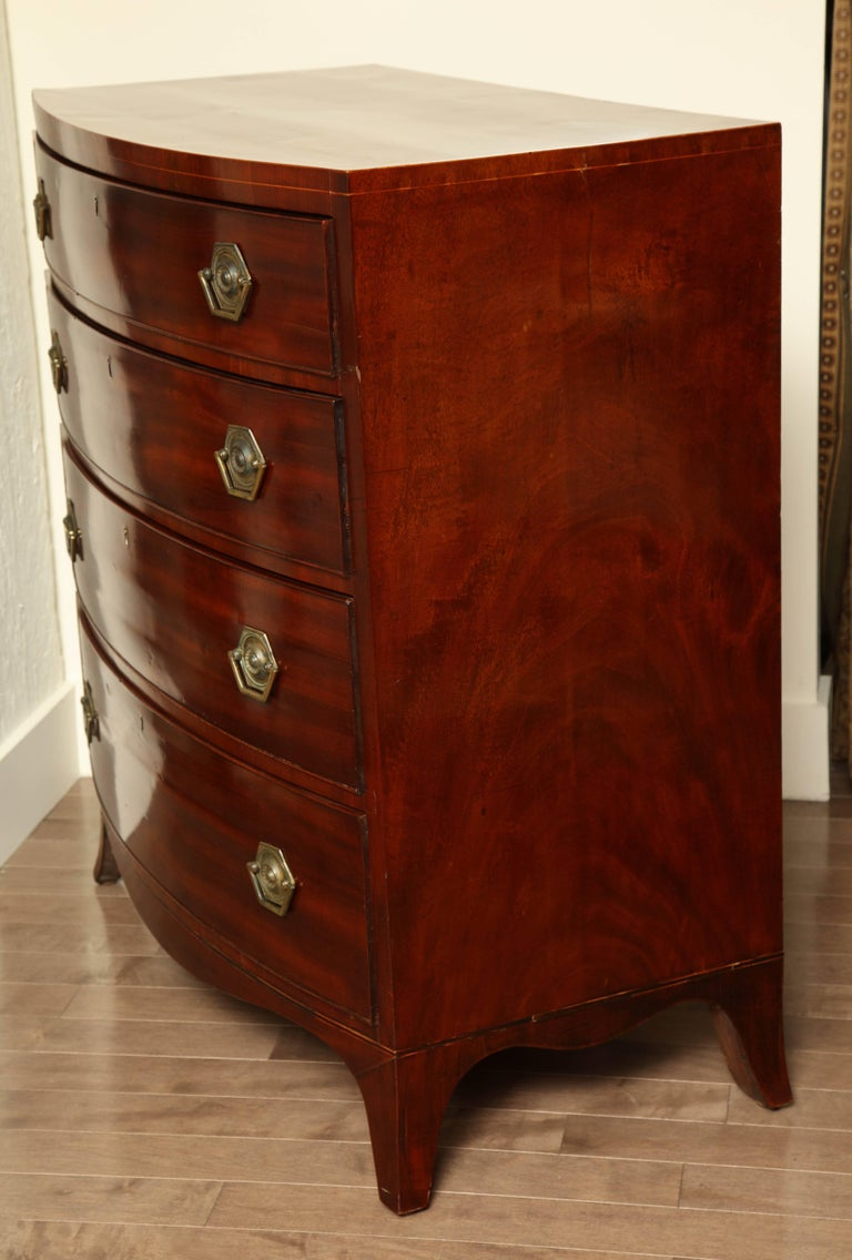 Early 19th Century English Regency Bow Fronted Chest For Sale 2