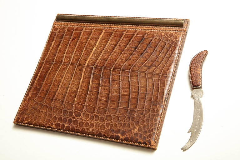 Folding desk blotter and letter opener in alligator by Mittaldi of Buenes Aires.