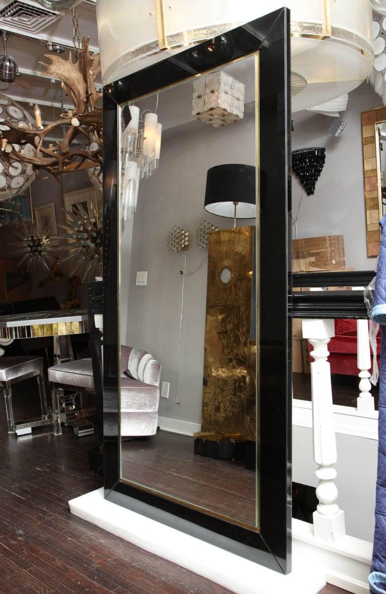 Custom black glass and brass full length mirror for sale for Custom mirror glass