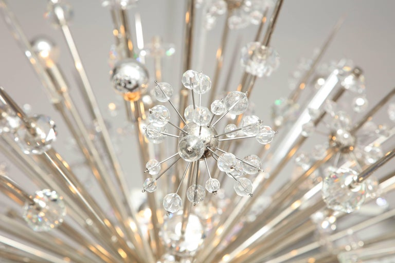 Mid-Century Modern Monumental Austrian Crystal and Glass Rod Sputnik in Polished Nickel For Sale