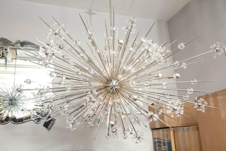 Monumental Austrian Crystal and Glass Rod Sputnik in Polished Nickel In Excellent Condition For Sale In New York, NY