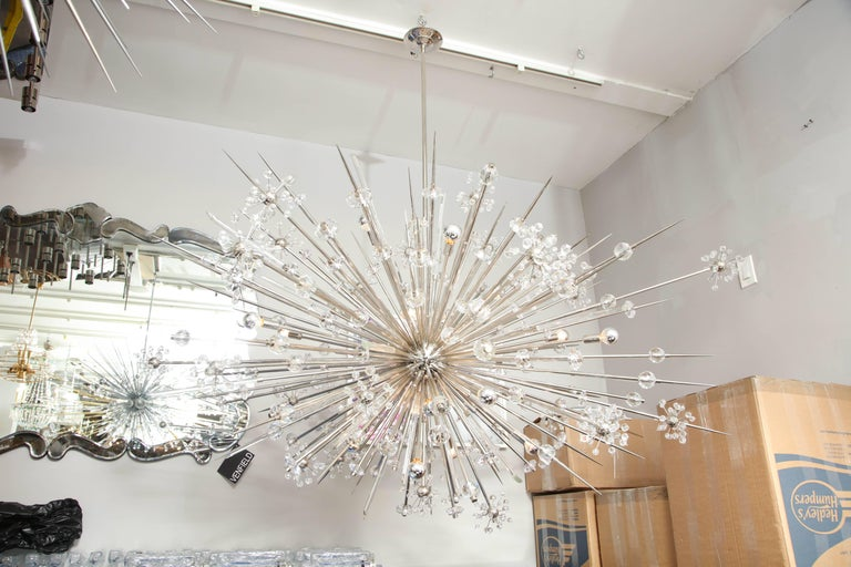 Contemporary Monumental Austrian Crystal and Glass Rod Sputnik in Polished Nickel For Sale