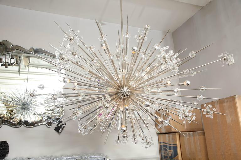 Monumental Austrian Crystal and Glass Rod Sputnik in Polished Nickel For Sale 3