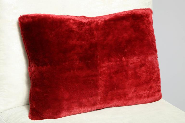 Modern Red Sheared Beaver Pillow For Sale