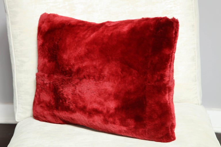 American Red Sheared Beaver Pillow For Sale