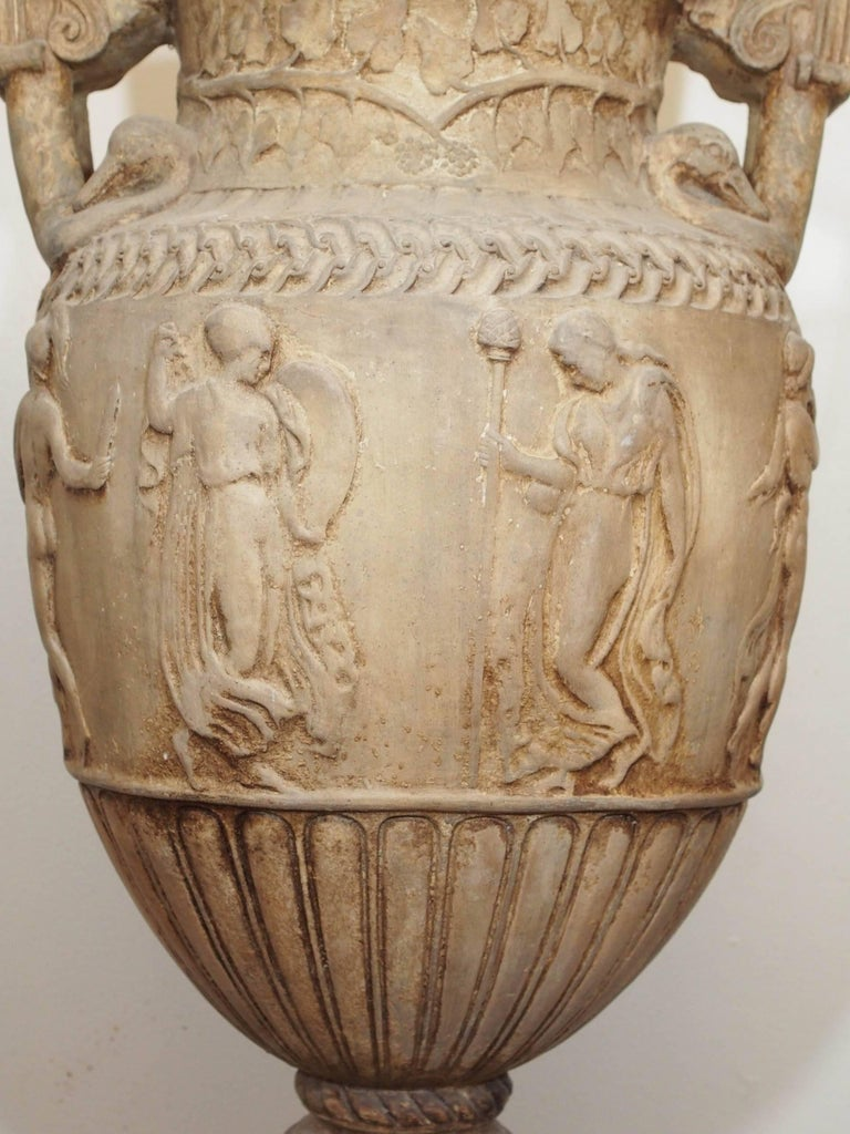 Pair Of Large Terra Cotta Blanc Classical Urns For Sale At 1stdibs
