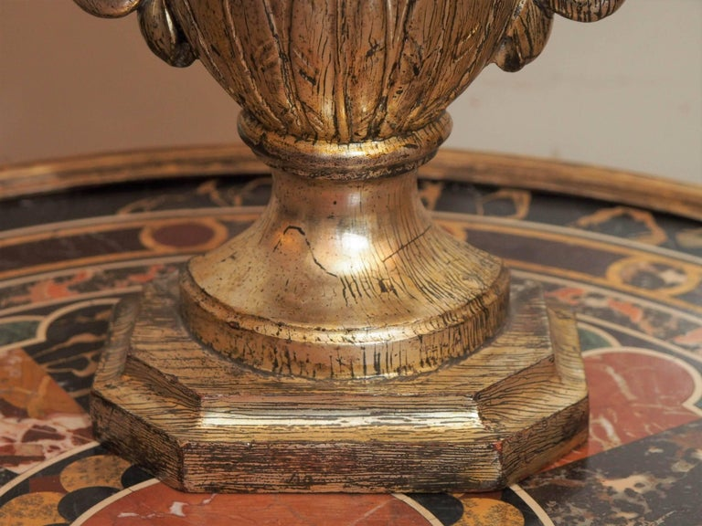 Pair of 19th Century Gilt Italian Urns with 18th Century Gilt Thread For Sale 3