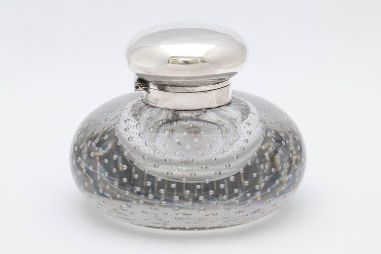 Large, Victorian period, sterling silver-mounted controlled bubbles crystal inkwell with hinged lid, Boston, circa 1895, Bigleow ,Kennard and Co. makers. Measures: 3 3/4 inches high x 4 1/4 inches diameter at widest point. Very heavy - weighs over 2
