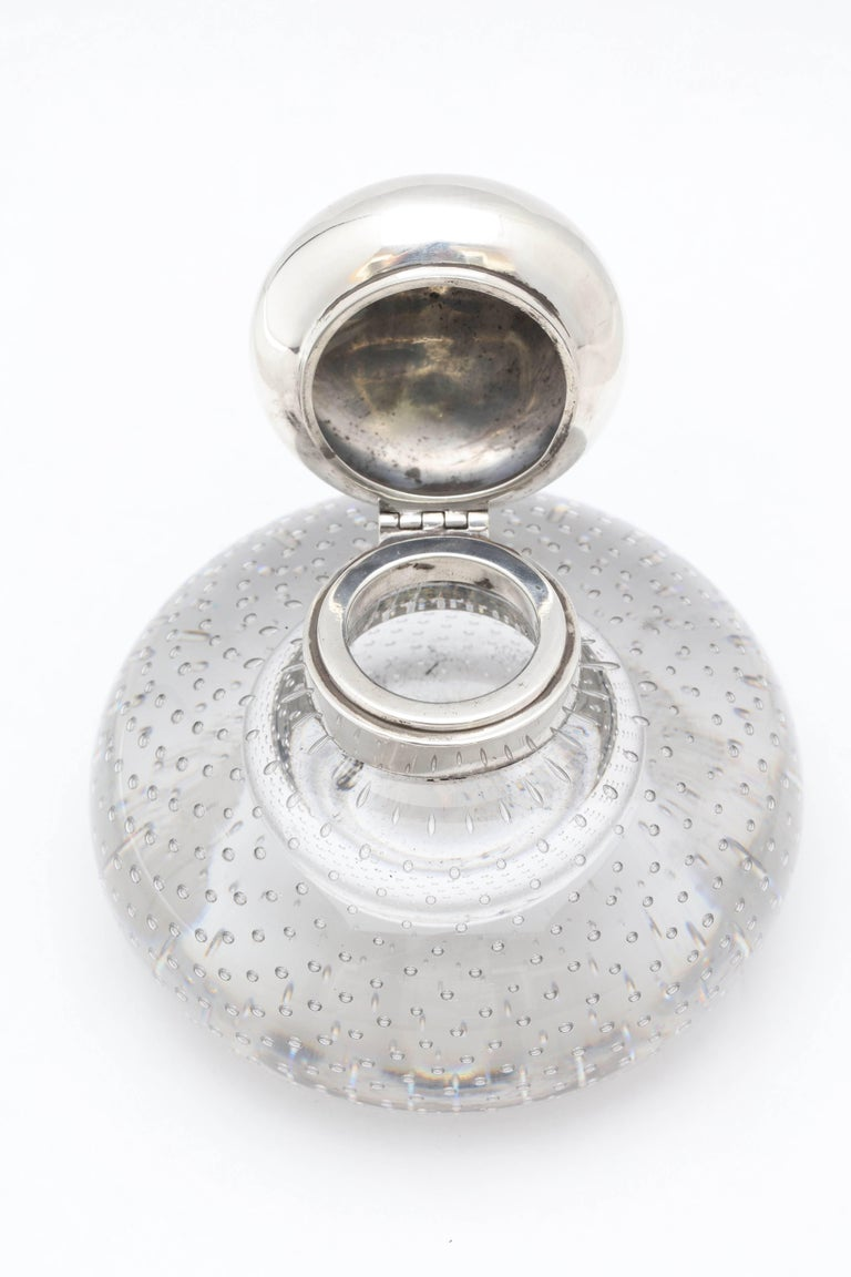 Large Victorian Period Sterling Silver-Mounted Controlled Bubbles Inkwell For Sale 3