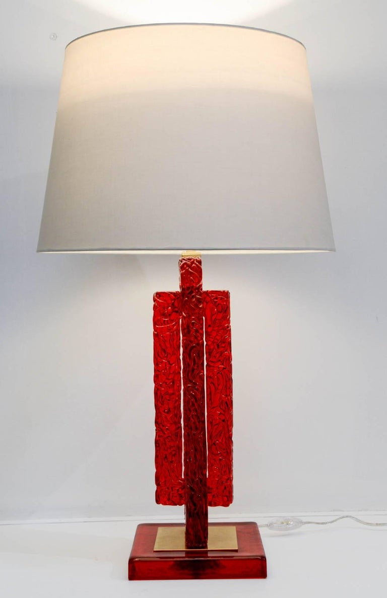 Nice pair of red Murano glass lamp Can be realized in all colors Dimensions given without shade No shade provided.
