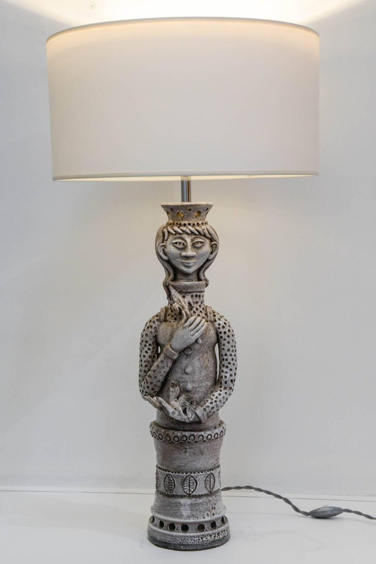 One of a kind ceramic lamp signed by André Marchal 1950s, Vallauris Dimensions given without shade No shade provided.