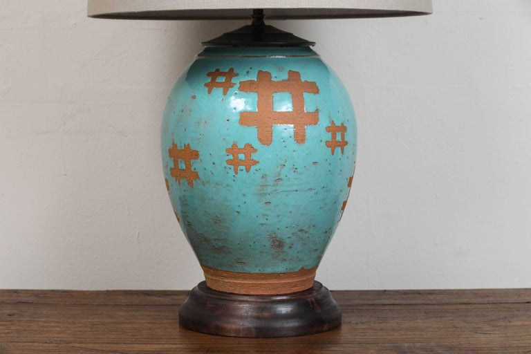 Pair of Japanese Terra Cotta Table Lamps 2