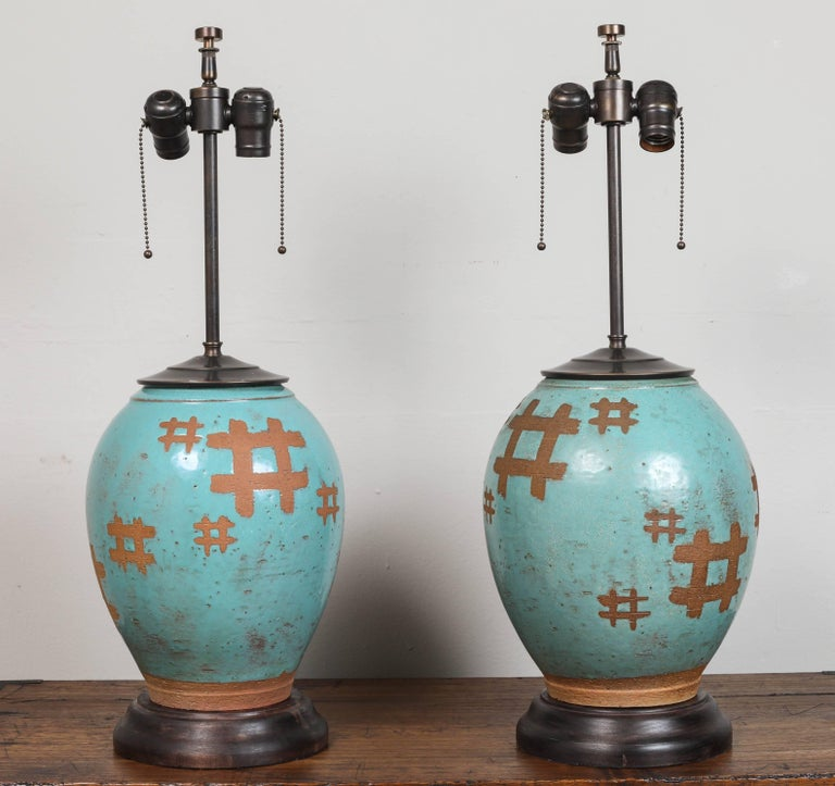 Pair of Japanese Terra Cotta Table Lamps 5