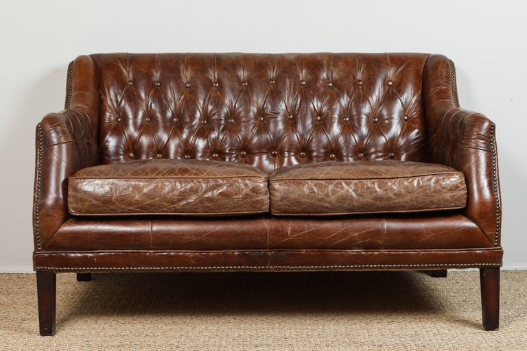 Vintage Tufted Leather Loveseat 2