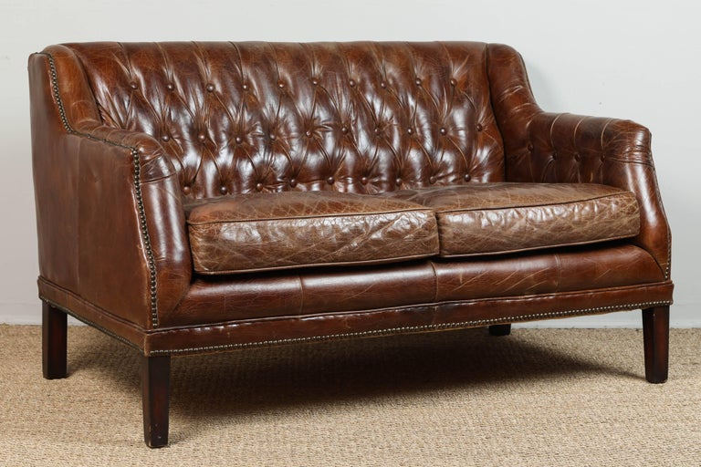 Vintage Tufted Leather Loveseat 5
