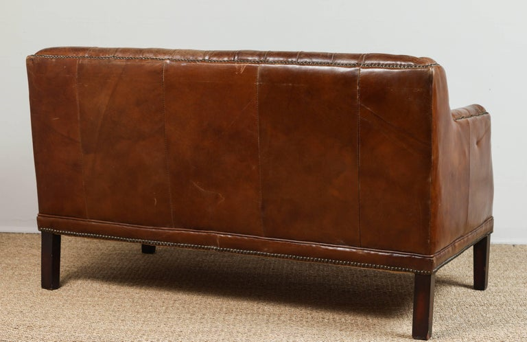 Vintage Tufted Leather Loveseat 4