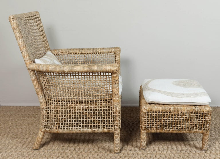 Rattan Chair and Ottoman with African Textile Cushions 2