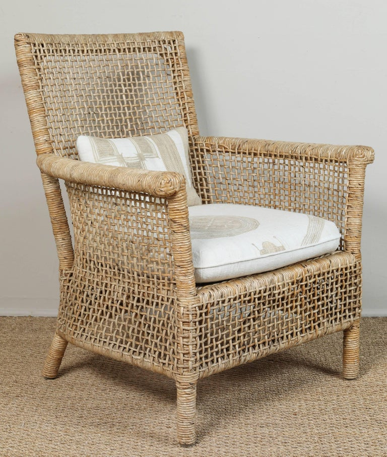 Rattan Chair and Ottoman with African Textile Cushions 6