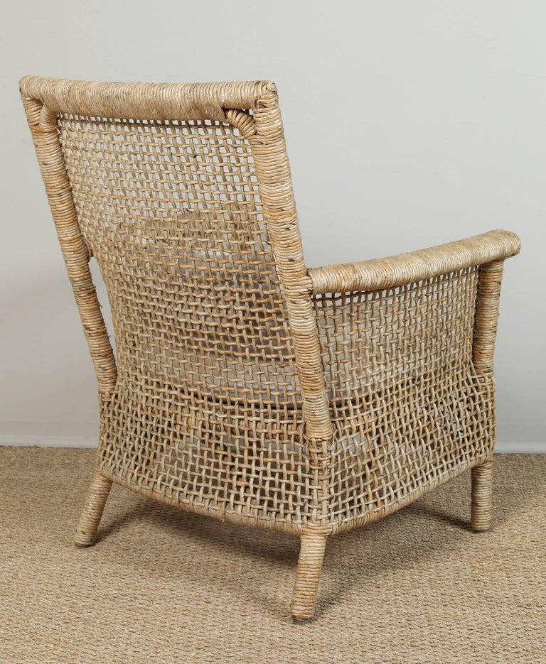 Jute Rattan Chair and Ottoman with African Textile Cushions For Sale