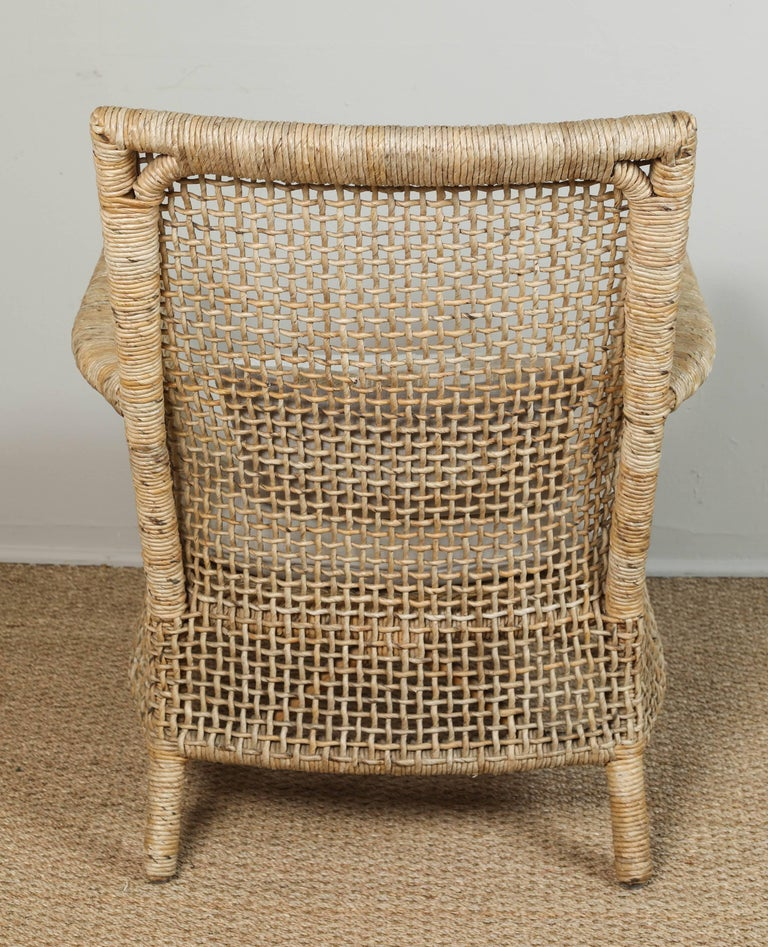 Rattan Chair and Ottoman with African Textile Cushions For Sale 1